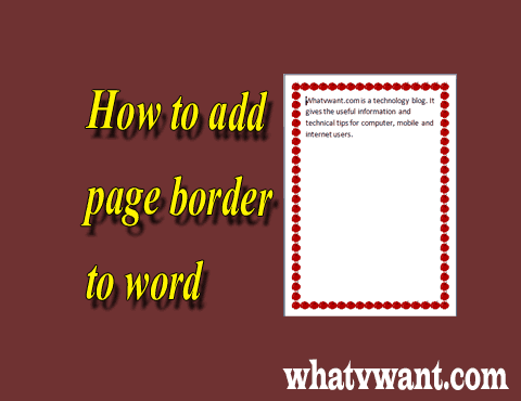 How to insert custom page border in word