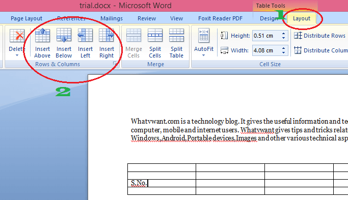 insert row in word table   easy to add row  column  cell